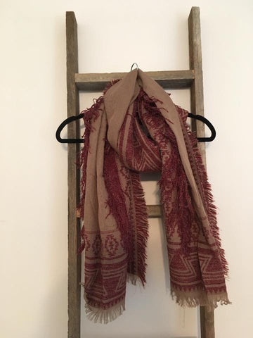 Maroon and Camel Aztec Fringe Scarf - Oh, Darlin'