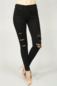 Jodie Jean Black Distressed Denim - Oh, Darlin'