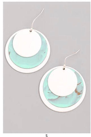 Silver and Turquoise Disc Accent Earring - Oh, Darlin'