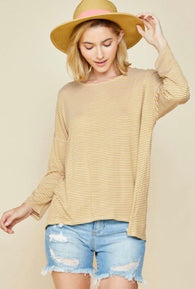 Khloe Stripe Mustard Top - Oh, Darlin'
