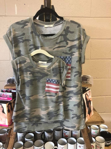 Camo Flag Pocket Tee - Children - Oh, Darlin'