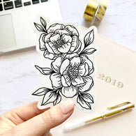 Line Drawn Peonies Sticker - Oh, Darlin'
