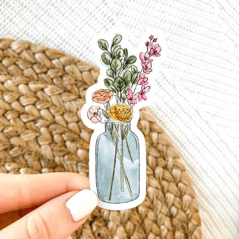 Water Color Vase With Flower Bouquet Sticker - Oh, Darlin'