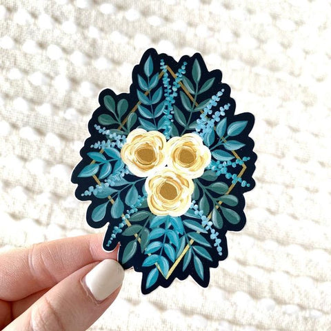 Blue and Yellow Diamond Rose Bouquet Sticker - Oh, Darlin'