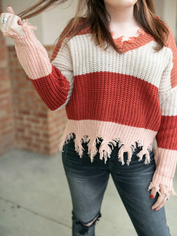 Mckinley Colorblock Frayed Hemline Sweater - Oh, Darlin'