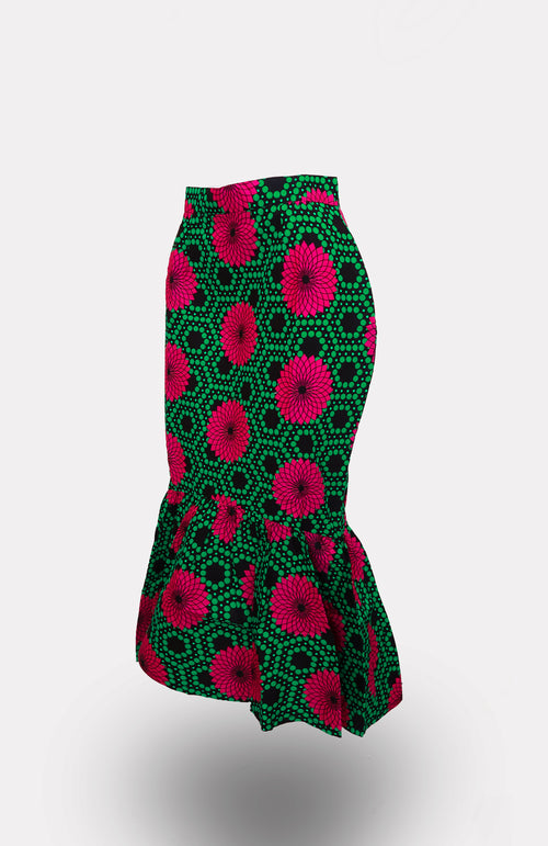 Adeben Mermaid Flare Skirt - African Wax - Ankara - Chinero Nnamani