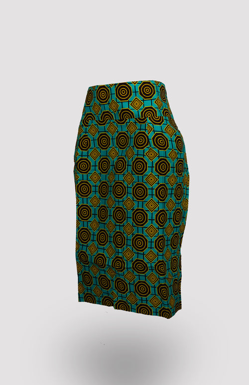 High-waisted Amai Pencil Skirt African Print - African Wax - Ankara - Chinero Nnamani