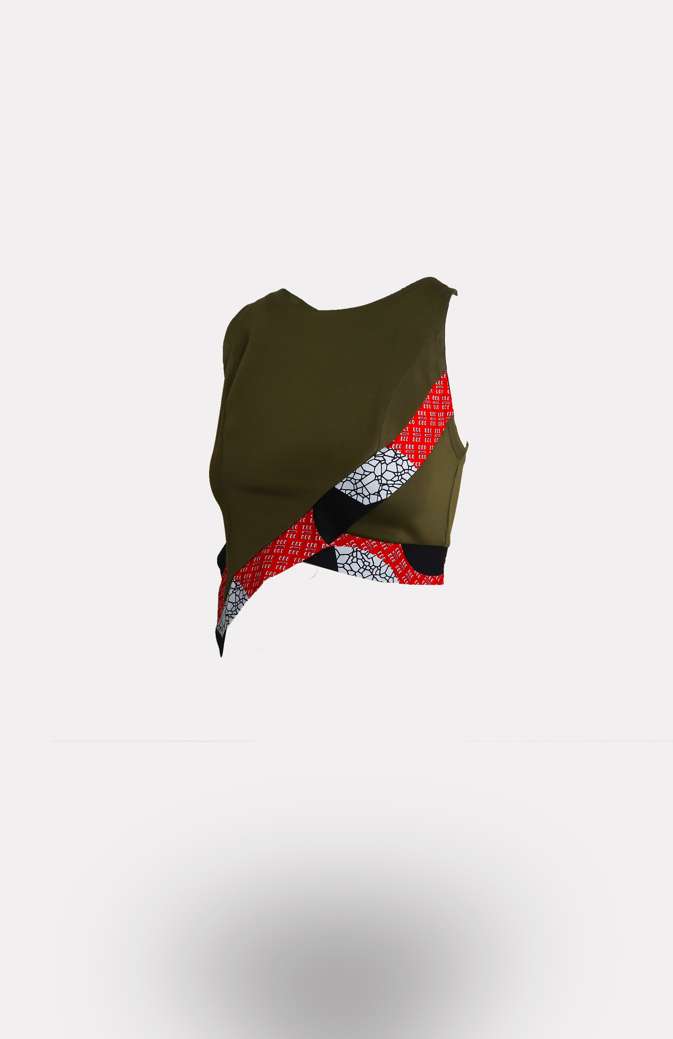 Envelope Crop Top in Army Green w/ Une Edging African Print - African Wax - Ankara - Chinero Nnamani