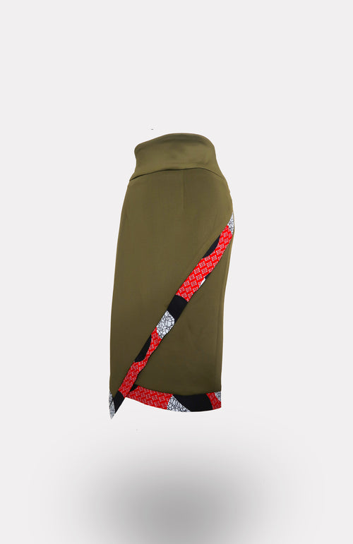 Envelope Skirt in Army Green w/ Une Edging African Print - African Wax - Ankara - Chinero Nnamani