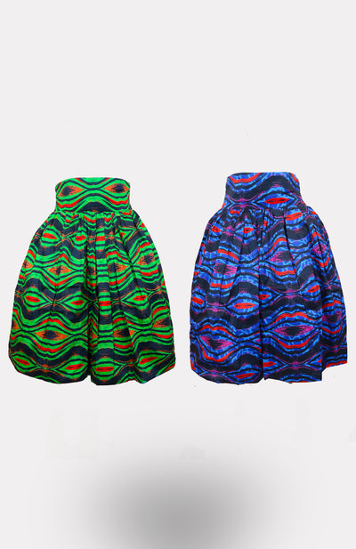 BP King/Queen Reversible Midi Skirt African Print - African Wax - Ankara - Chinero Nnamani