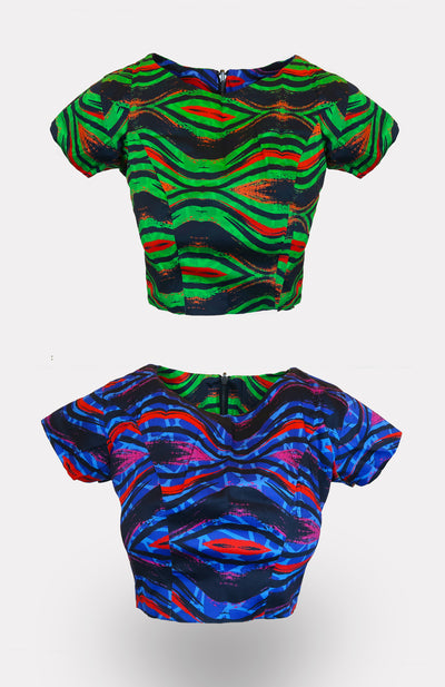BP King/Queen Reversible Crop Top African Print - African Wax - Ankara - Chinero Nnamani