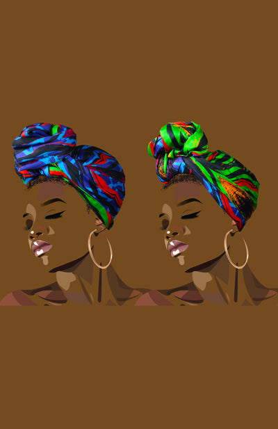 Reversible Black Panther King/Queen Head Wrap African Print - African Wax - Ankara - Chinero Nnamani