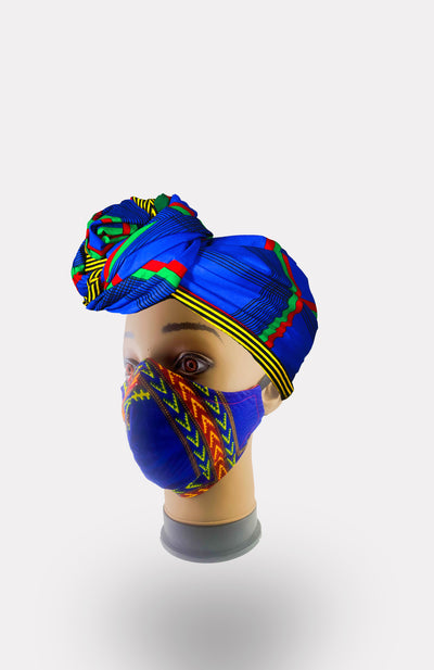 African Print Double Layer Face Mask- Blue - African Wax - Ankara - Chinero Nnamani
