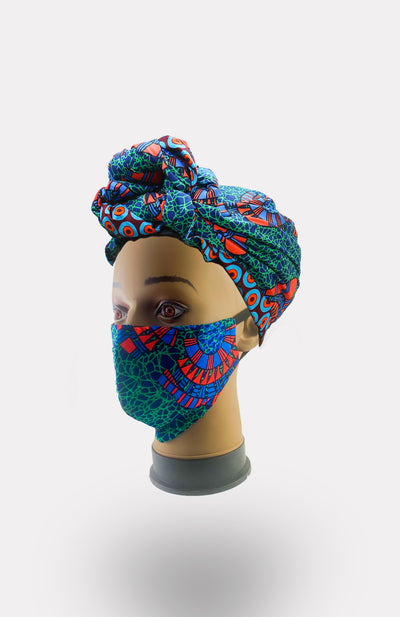 African Print Double Layer Face Mask- Ikeogu - African Wax - Ankara - Chinero Nnamani