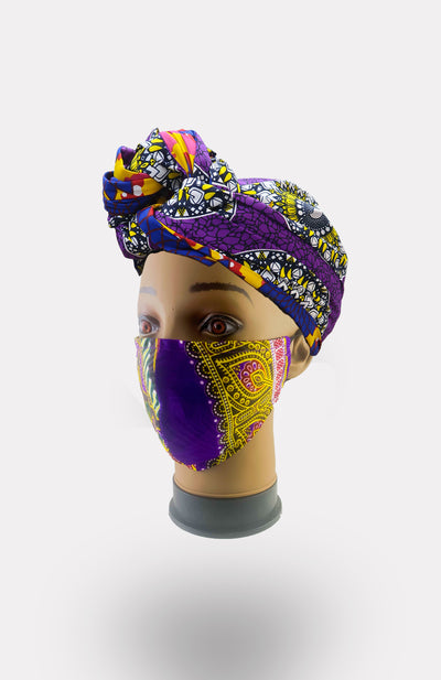 African Print Double Layer Face Mask- Purple - African Wax - Ankara - Chinero Nnamani