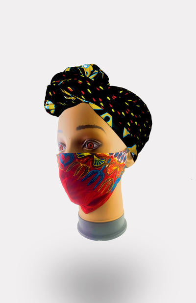 African Print Double Layer Face Mask- Red - African Wax - Ankara - Chinero Nnamani