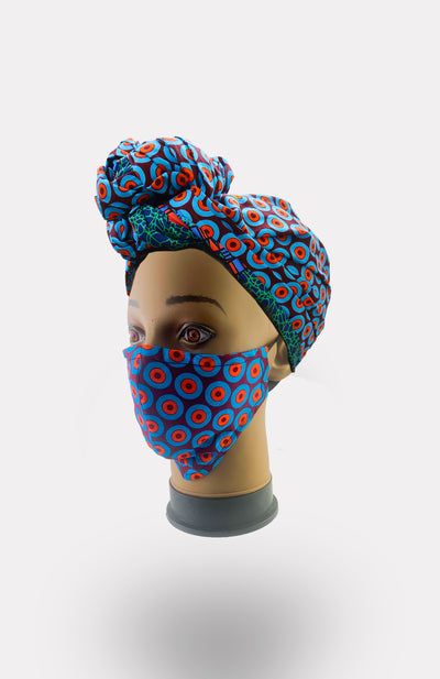 African Print Double Layer Face Mask- Taj - African Wax - Ankara - Chinero Nnamani