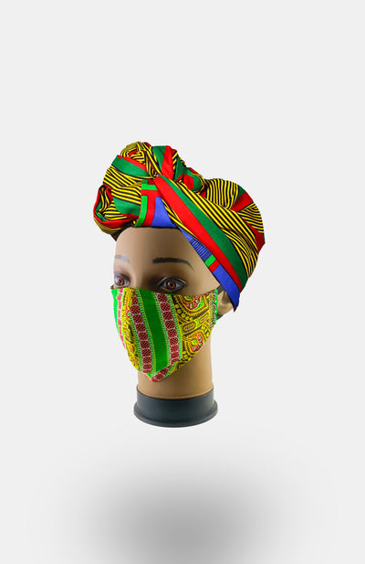 African Print Double Layer Face Mask- LimeGreen - African Wax - Ankara - Chinero Nnamani