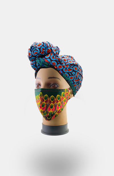African Print Double Layer Face Mask- Green - African Wax - Ankara - Chinero Nnamani