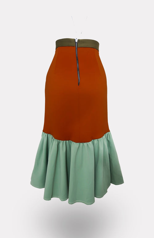Colorblock Orange Dominant Mermaid Skirt - African Wax - Ankara - Chinero Nnamani