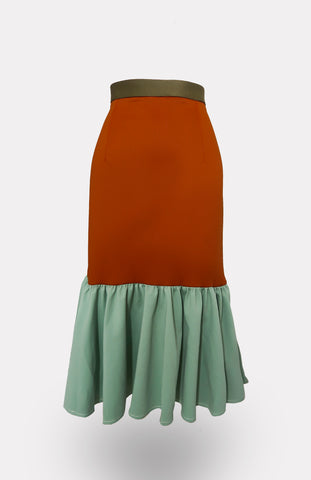 Collared, Colorblock Crop Top Dominant Mint