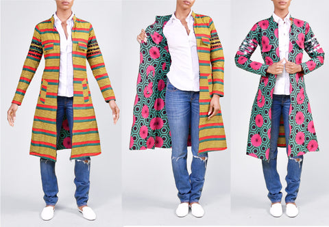 BPKing/Queen Reversible Cardigan African Print