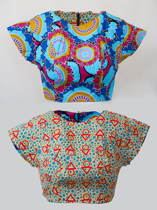 Eind/Zain Reversible Crop Top - African Wax - Ankara - Chinero Nnamani