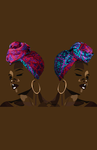 Reversible Wensi Head Wrap African Print