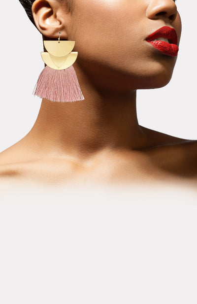 Goddess Fringe Earrings-pink - African Wax - Ankara - Chinero Nnamani