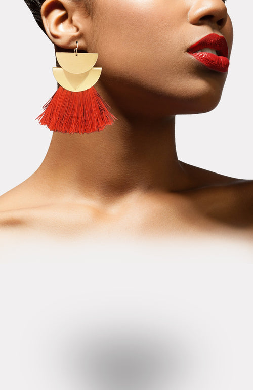 Goddess Fringe Earrings-Red - African Wax - Ankara - Chinero Nnamani