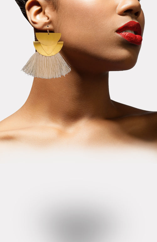 Goddess Fringe Earrings-White - African Wax - Ankara - Chinero Nnamani