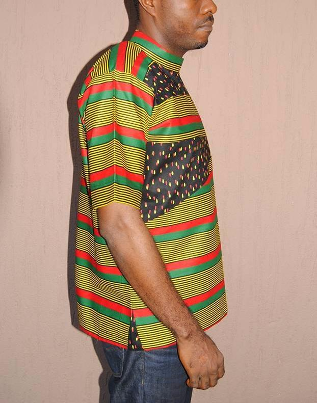 Men's Ulo Patchwork Top - African Wax - Ankara - Chinero Nnamani