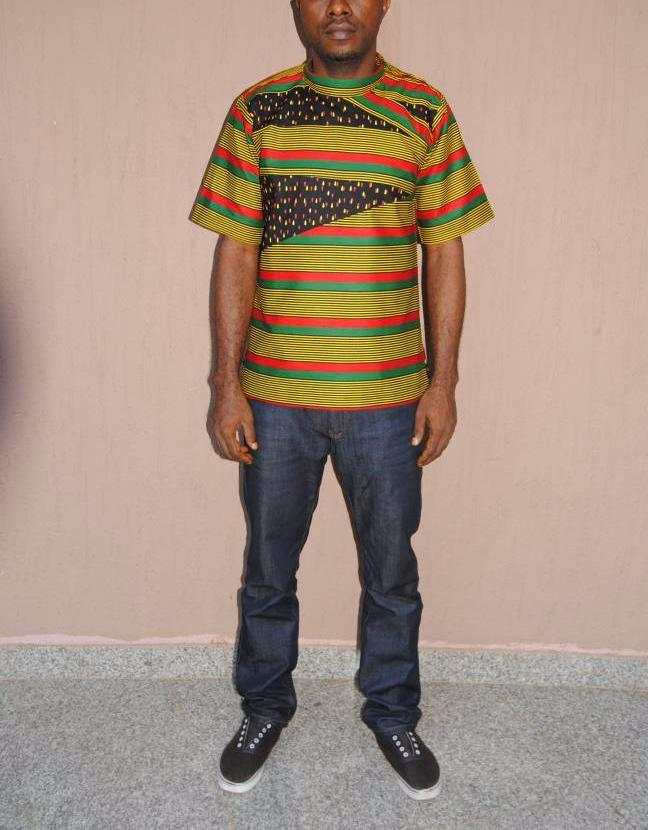 Men's Ulo Patchwork Top African Print - African Wax - Ankara - Chinero Nnamani