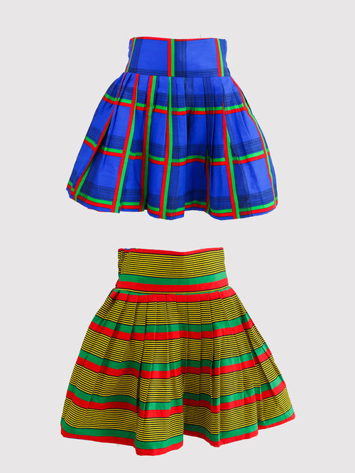 Ife/Ulo Reversible Mini Skirt - African Wax - Ankara - Chinero Nnamani