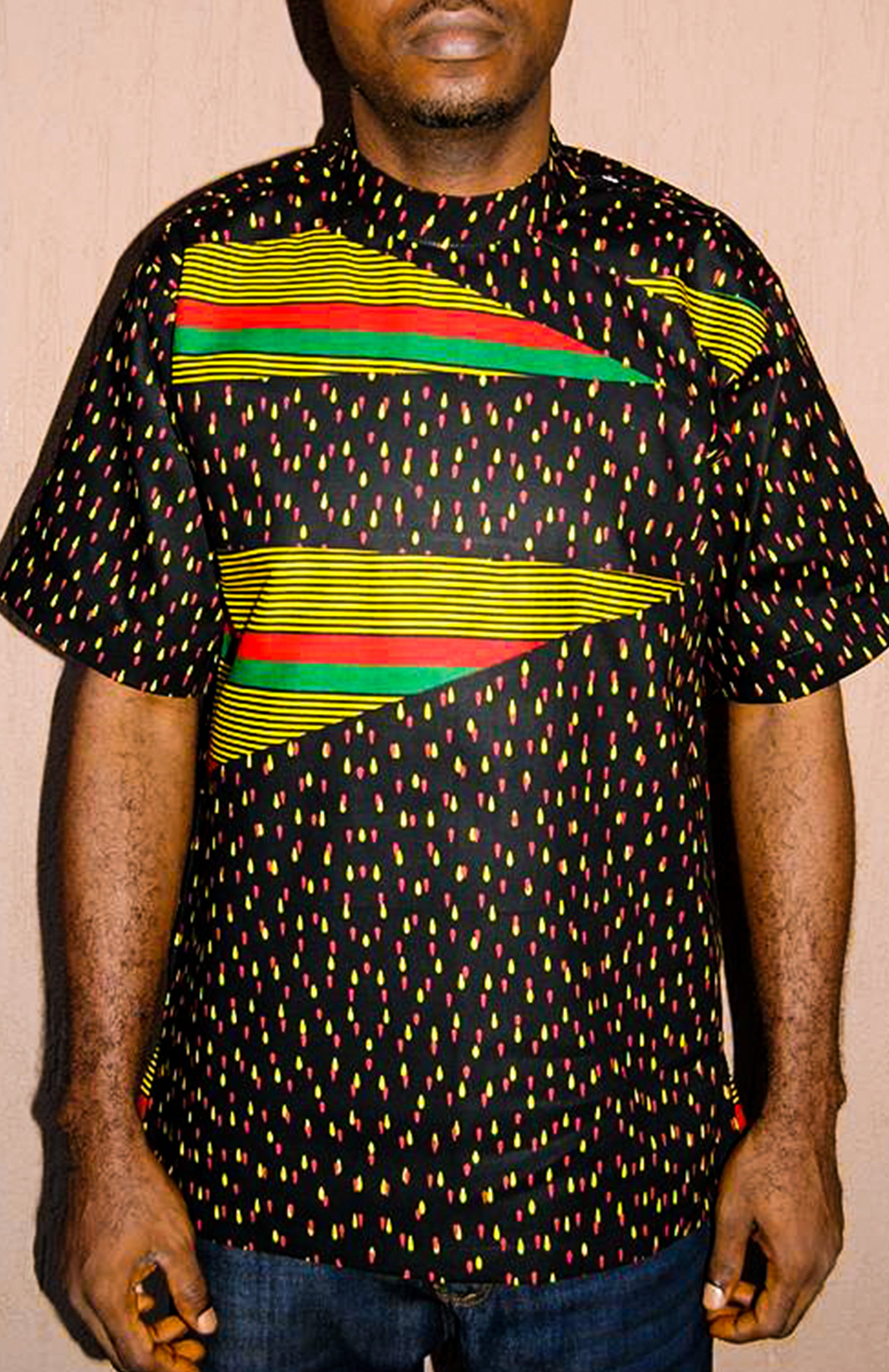 Men's Issa Patchwork Top - African Wax - Ankara - Chinero Nnamani