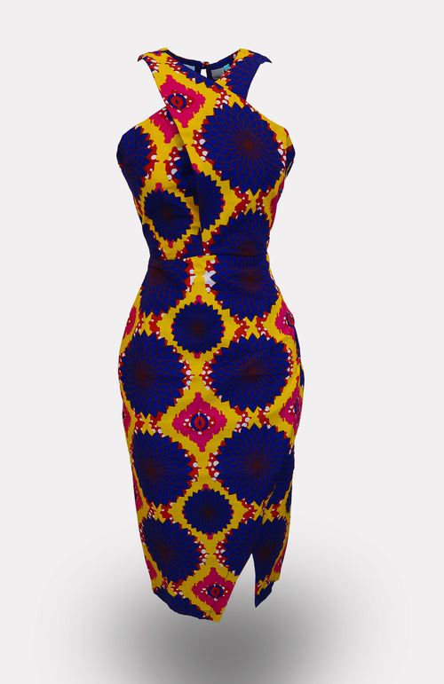 Kofi Halter Pencil Dress - African Wax - Ankara - Chinero Nnamani