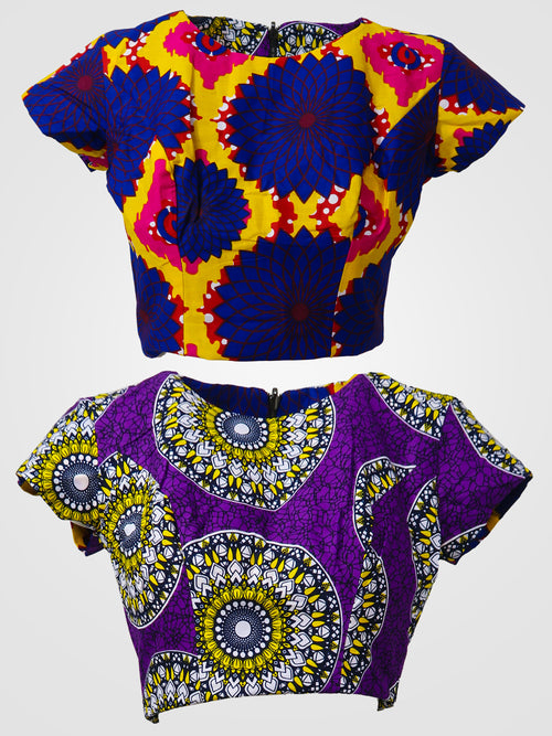 Inye/Kofi Reversible Crop Top - African Wax - Ankara - Chinero Nnamani