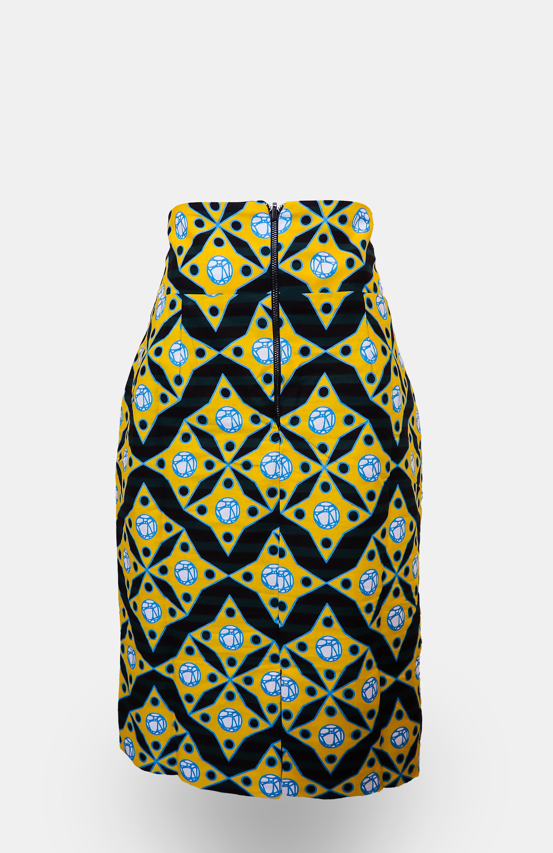 High-waisted Mianu Pencil Skirt - African Wax - Ankara - Chinero Nnamani