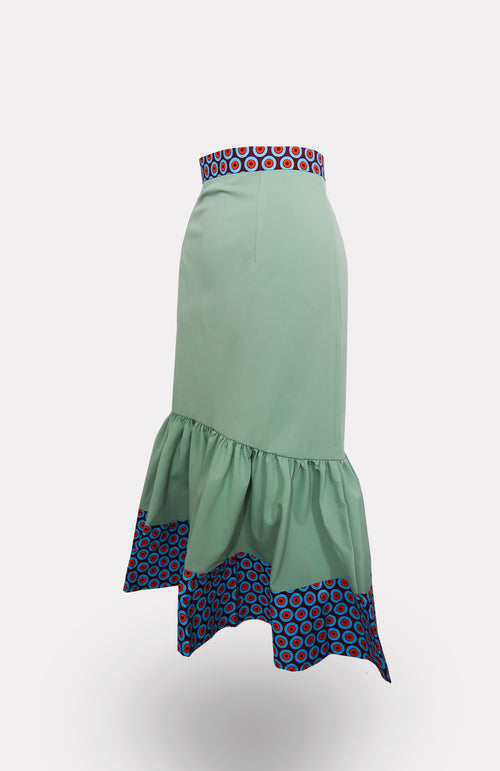 Mint-Taj Mermaid Skirt African Print - African Wax - Ankara - Chinero Nnamani