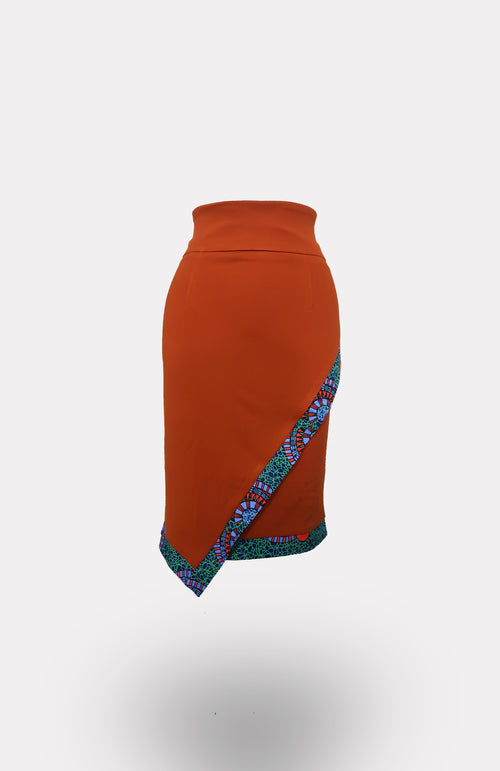 Envelope Skirt in Orange w/ Ikeogu Edging African Print - African Wax - Ankara - Chinero Nnamani