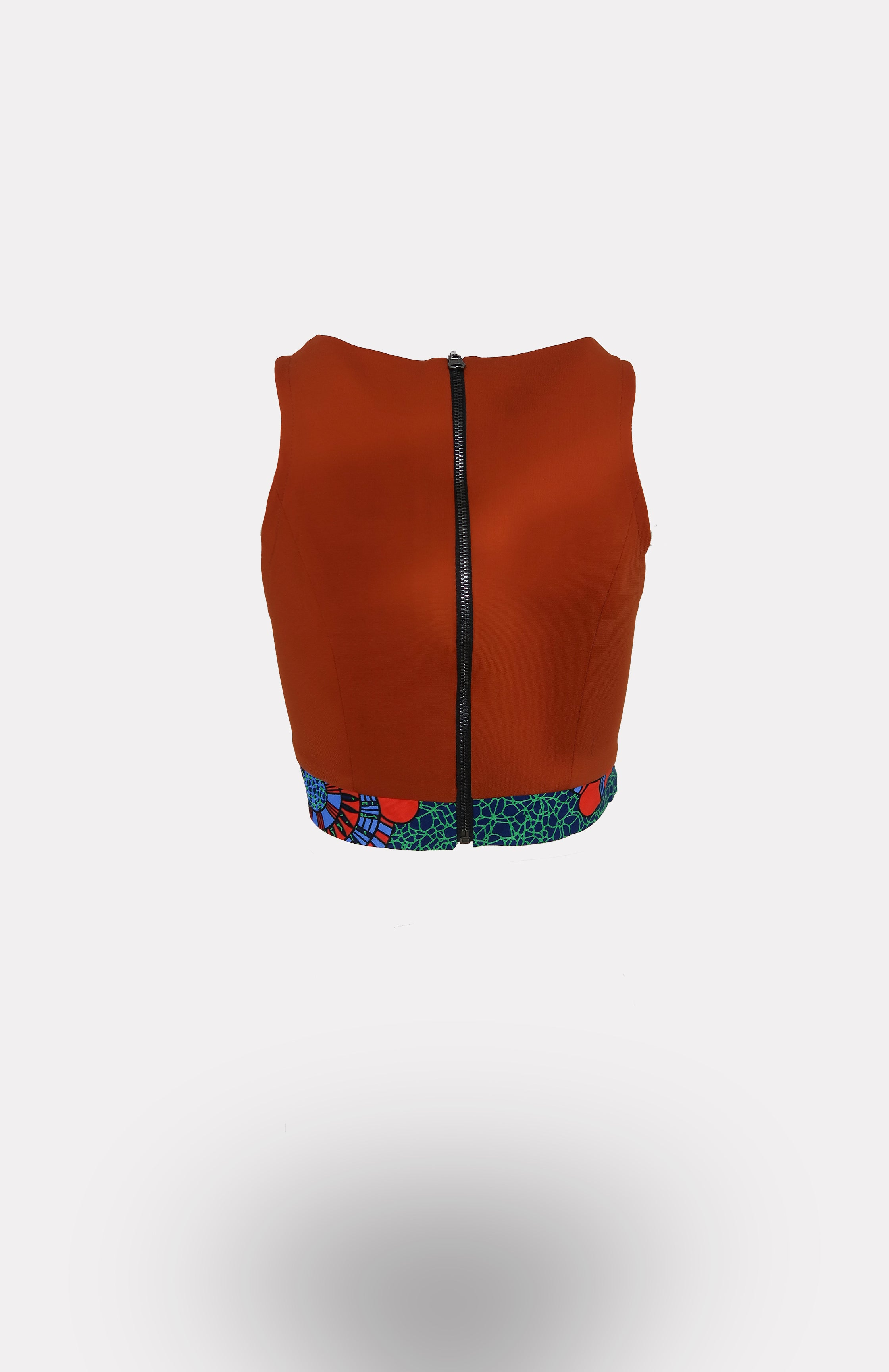 Envelope Crop Top in Orange w/ Ikeogu Edging African Print - African Wax - Ankara - Chinero Nnamani