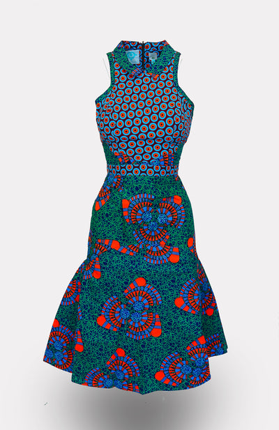 IkeoguTaj PeterPan Collar Midi Dress African Print - African Wax - Ankara - Chinero Nnamani