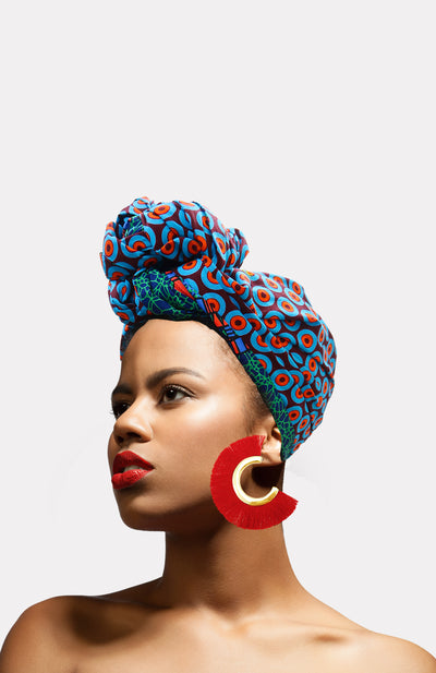 Warrior Fringe Earrings-Red - African Wax - Ankara - Chinero Nnamani