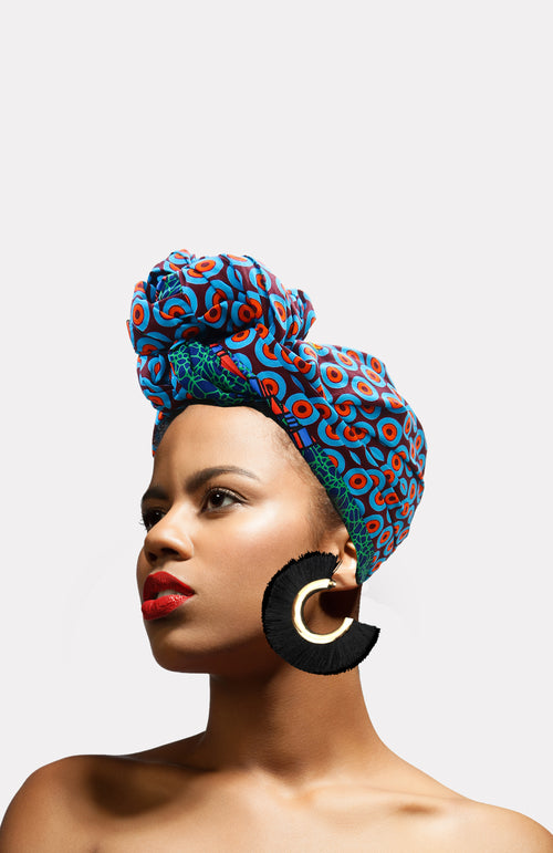 Warrior Fringe Earrings-Black - African Wax - Ankara - Chinero Nnamani