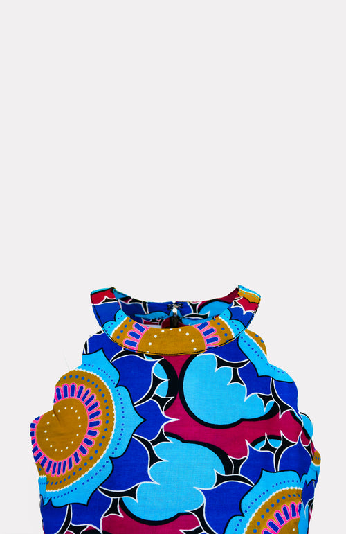Eind Scallop Mini Dress - African Wax - Ankara - Chinero Nnamani