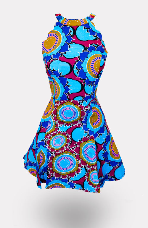 Eind Scallop Mini Dress African Print - African Wax - Ankara - Chinero Nnamani