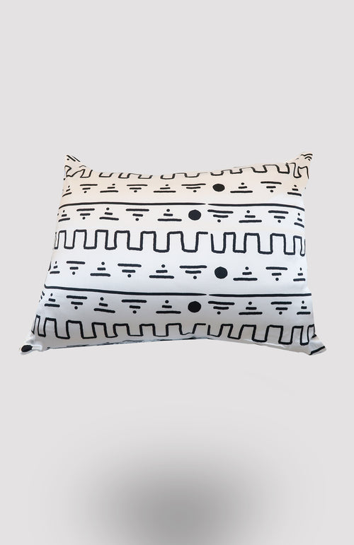 White Eke Satin Pillowcase - African Wax - Ankara - Chinero Nnamani