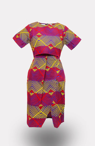 Soludo Shadow Top Pencil Dress African Print - African Wax - Ankara - Chinero Nnamani
