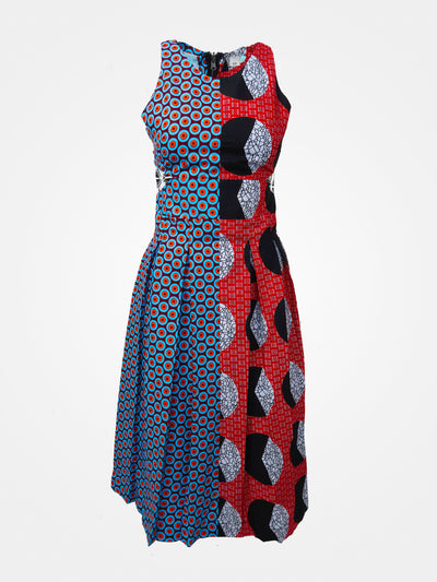 Two-Faced Midi Dress African Print - African Wax - Ankara - Chinero Nnamani
