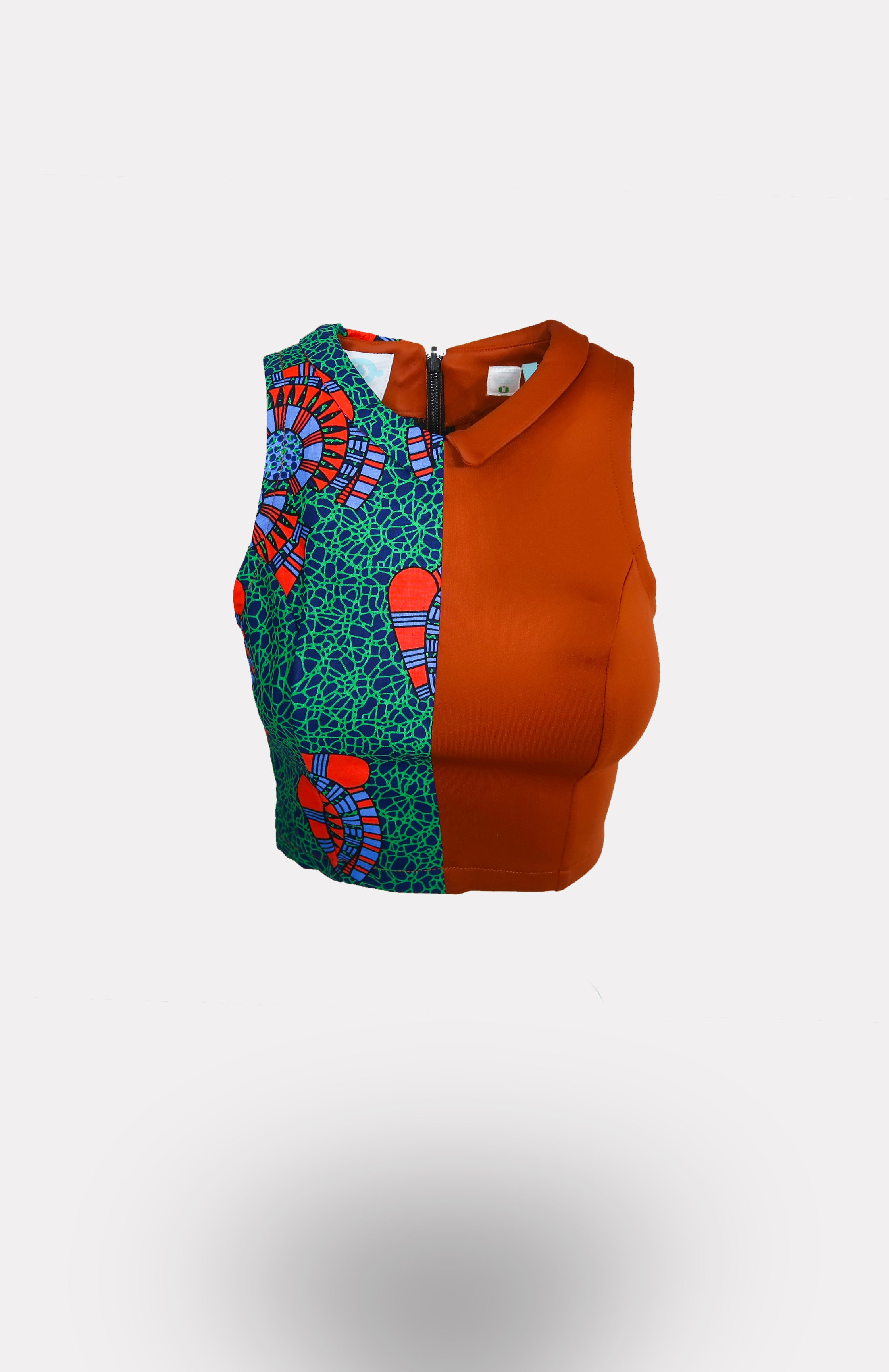 Two-Faced Crop Top in Orange w/ Ikeogu African Print - African Wax - Ankara - Chinero Nnamani